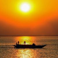 Magnificent sunset over Padma